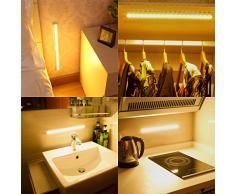 AMIR Luci Armadio, 20 LED Lampada da Parete con Sensore di Movimento Ricaricabile, con Striscia Magnetica, Lampada da parete Stick-on per Corridoio, Ingresso, Attici, Armadio (Bianco Caldo)