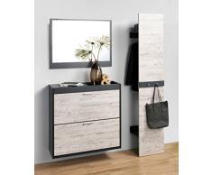 FMD Möbel 484-003 Pannello guardaroba in legno, antracite/rovere sabbia, 40 x 32 x 200,5 cm