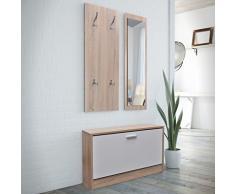 Vislone Set da Ingresso,Specchio+Scarpiera+Appendiabiti Moderno in Legno Naturale per Ingresso