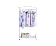 NEUN WELTEN Stand Appendiabiti con Arco superiore e Ripiano a Cesto Portaoggetti e Ruote 100 x 34 x 169 cm (Bianco)