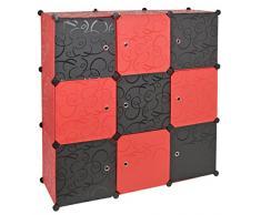 Armadio ad innesto, scaffale, armadietto a muro corridoio bagno. Color rosso e nero
