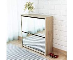 Scarpiera con Specchio per Ingresso 63 x 17 x 67 cm Scarpiera con 2 Ante a Ribalta,per Circa 6-8 Paia di Scarpe - Colore Rovere