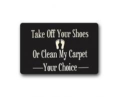 GDESFR zerbino Custom Decorative Kitchen Rugs Funny Words Take off Your Shoes Machine-Washable Indoor/Outdoor zerbino