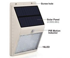 Lampade da Parete Energia Solari Wireless GrandBeing® 16 LED 250LM Luci Solare Sensore Movimento Illuminazione Giardino da Esterno con Pannello Solare Policristallino: 5.5V,0.9W,17% Efficienza/Batteria: 2200MAH,3.7V/Angolo di