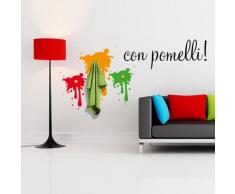 00384 Adesivo murale con ganci per appendiabiti Wall Art - Vernice appendiabiti - Misure 120x101 cm - rosso, verde e giallo - Decorazione parete, adesivi per muro, carta da parati