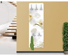WTD - Appendiabiti a muro design, in legno, con motivo a orchidee bianche