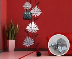 00322 Adesivo murale con pomelli stile Swarovski per appendiabiti Wall Art - Fiore rampicante con gioielli - Misure 70x180 cm - argento e nero - Decorazione parete, adesivi per muro, carta da parati