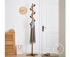 DONG Portacappelli in legno massiccio per uso domestico Portico per pavimento rimovibile verticale Salvaspazio verticale salvaspazio (186 * 45 * 45 cm) Nero (Colore : C)