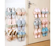 E-Meoly - Set di 4 pezzi di mensole porta scarpe in plastica da parete, da utilizzare all'ingresso della casa, sulle porte, ecc. Blue
