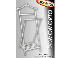 Idea casa: OMINO APPENDIABITI servomuto maggiordomo indossatore in ferro battuto con griglia poggiascarpe; colore bianco. Misure cm47x36x100