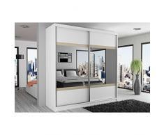 JUSThome Mirror VI Armadio ingresso Guardaroba 218x133x60 cm Colore: Bianco | Ontano Specchio