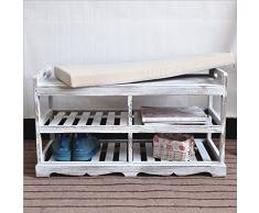Su @ da American rurale antico/Air/legno massello mobili/Doppia Panca/scarpiera/letto/Panchina/panca/scarpiera, White, d36-d260 rub white