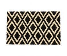 Entryways P2027 - Zerbino in fibra di cocco con rivestimento antiscivolo in PVC, motivo a rombi, colore bianco/nero, 40 x 60 x 1.4 cm