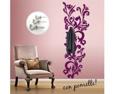 00647 Adesivi murali ''Floreale Appendiabiti'' - Stickers adesivi - 56x160 cm - Viola - Decorazione parete, adesivi per muro, carta da parati