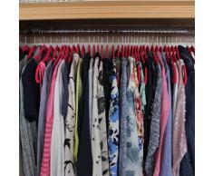 JVL - Grucce appendiabiti in velluto sottile antiscivolo, di notevole qualità, per risparmiare spazio nel guardaroba, colore: rosa shocking, plastica, Hot Pink, Confezione da 100 pz