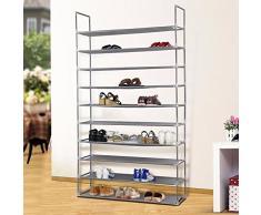 Acomfort S-1 - Scarpiera regolabile per scarpe a 2 / 4 / 6 / 8 /10 ripiani, contiene 6 / 12 / 18 / 24 / 30 paia di scarpe, salva spazio, facile da montare, plastica, Grey, 10 Tiers 60 Pairs