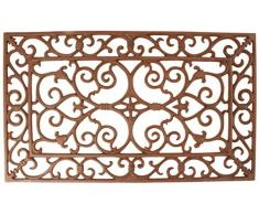 Esschert Design - Zerbino in ghisa, di Forma Rettangolare, Marrone Antico, Rossastro, Dimensioni 60 x 35 x 1,8 cm