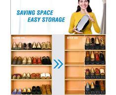 Regolabile scarpiera salvaspazio shoe organizer, scarpe salvaspazio Holder shoe rack--10 Pezzi Black con Gift Raincoat e 2 Shoeshine
