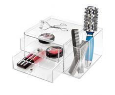 InterDesign Drawers Svuotatasche e portaoggetti bagno, 2 cassetti porta trucchi o porta merceria e cancelleria, Organizer bagno e ufficio, Plastica trasparente