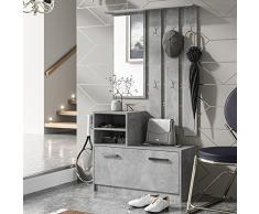 Selsey Julie - Appendiabiti da parete con scarpiera e specchio
