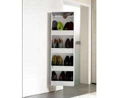 Dynamic24 schuh-bert 600 specchio girevole scarpiera armadio/scarpiera con specchio bianco