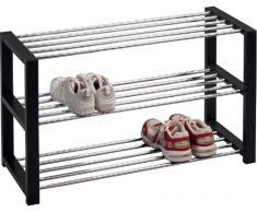 HomeTrends4You 841429 Panca con vano scarpiera, 80 x 50 x 30 cm, nera cromata