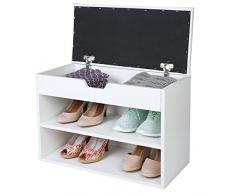 TRESKO® Scarpiera per 6 paia di scarpe con possibilità di seduta / libreria con cuscino lavabile, Scarpiera, panca con cuscino, credenza con possibilità di seduta, scarpiera con deposito per il corridoio, salotto, bagno o per
