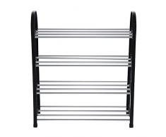 Nikou Scarpe Rack - Scarpe Mensola 4 Tiers Scarpe in Alluminio di plastica Organizzatore per Home Organizer