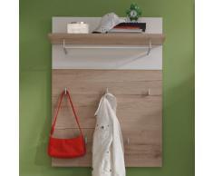 trendteam 1316-442-91 - Pannello guardaroba modello Campus in rovere grezzo chiaro e accessori bianchi, 80 x 109 x 30 cm