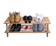 2 ripiani scarpiera 74 x 26 x 29 cm panca in legno impilabile