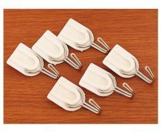 preadvisor (TM) 6 pcs bianco famiglia appendiabiti da parete cappelli sacchetto chiave Adesivo Gancio di plastica max 1,5 kg