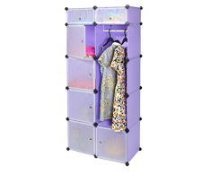 Armadio/Armadietto a muro per corridoio camera da letto a 7 scomparti senza viti, colore: viola/lillà