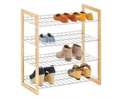 mDesign Scarpiera salvaspazio a 4 ripiani – Porta scarpe in metallo e legno – Pratico scaffale per scarpe per corridoio, armadio o camera da letto – naturale