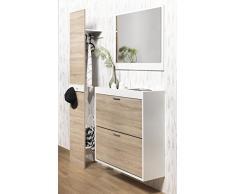 FMD Möbel 484 003-Pannello appendiabiti da parete in legno, dimensioni: 40 x 32 x 200,5 cm, colore: quercia/bianco