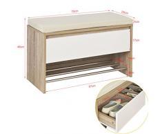 SoBuy® Scarpiera da ingresso, Cassapanca,Portascarpe con cuscino e cassetto,FSR44-WN,IT