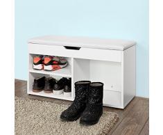 SoBuy Scarpiera da ingresso, Cassapanca,Portascarpe con cuscino,bianco, 80cm, FSR27-W,IT