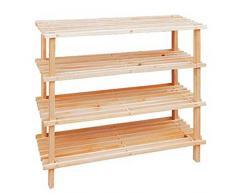 Scaffale a piani in legno naturale e scuro shoe Shelf organizer Entryway scarpiera, home mensola armadio per scarpe., Natural, 4-Tier shoe rack (58 x 26 x 67cm)