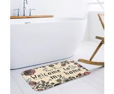 Leebei addensare flanella zerbino antiscivolo bambini zerbino di cartone animato porta ingresso zerbino cucina bagno tappetino tappeto camera da letto tappeti (Welcom, 15.7 × 23.6 pollici)