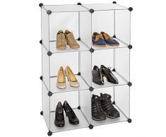TecTake Scaffale armadietto modulare mobile scaffalatura mensola per scarpe bagno bianco