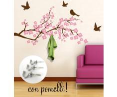 00409 Adesivo murale con ganci per appendiabiti Wall Art - Ramo di ciliegio appendiabiti - Misure 120x61 cm - marrone e rosa - Decorazione parete, adesivi per muro, carta da parati