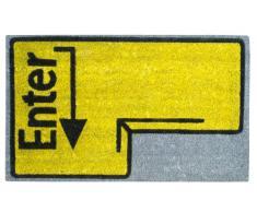 Jute & Co. ZER602 Zerbino in Fibra di Cocco, Fondo Antiscivolo, a Forma di Enter, 45 x 75 cm