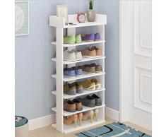 Shoe Rack, 6-Storia Scarpa Storage Rack Dormitorio Scarpe Scaffale Rack Cremagliera,White,7Layers