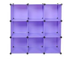 Armadio/Libreria/Armadietto a muro per corridoio a 9 scomparti senza viti, colore: viola/lillà