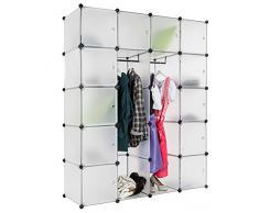 TecTake Scaffale armadietto modulare mobile scaffalatura mensola per scarpe bagno sistema di plug-in cuba con appendiabiti - disponibile in diversi colori - (Bianco | No. 401579)