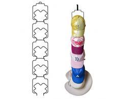Tincogo - Confezione da 5 Porta e Parete per Cappelli, Cappelli, Cappelli da Baseball, Asciugamani, Cappelli, Sciarpe, Borse, Asciugamani, Armadio (Ganci e Ganci Adesivi Inclusi), Nero, Style 2