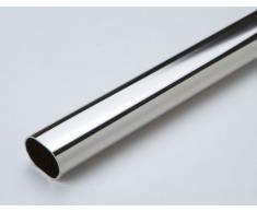 1 tubo armadio, attaccapanni, asta appendiabiti, metallo, nichelato, ovale, lunghezza complessiva 1200, diametro 30 x 15 mm