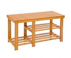 TecTake Scaffale scarpiera a ripiani sgabello scarpe banca panchina di legno bambù 87x28x45,5cm
