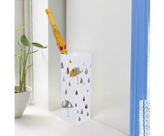 Songmics Portaombrelli Porta ombrelli 49 cm Bianco in ferro quadro Con Gancini e Vaschetta Scolapioggia LUC49W