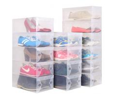 Oyfel 1 scatola portaoggetti per scarpe per Cassetti Guardaroba scaffali modulabile fai da te in plastica trasparente impilabile pieghevole per garage Camera Salotto