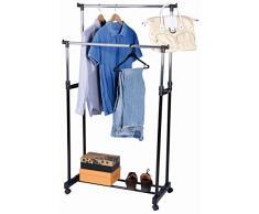 Vestiti rack con 2 aste appendiabiti regolabili e scarpiera - con ruote